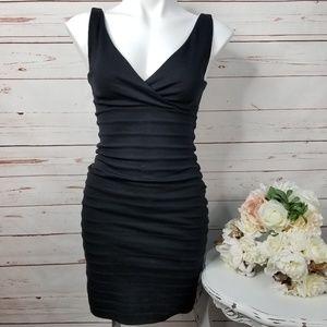 Express XXS Black Lined Deep V Bodycon Dress